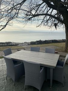 Outdoor table provides another eating location option for your group.