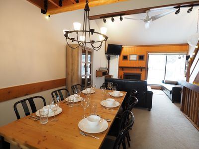 The dining room and living room combo is very open and spacious