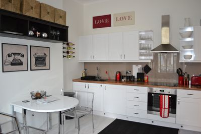 kitchen and Living area with extending table