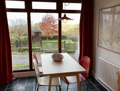 Dining area, with picture window overlooking the Usk Valley