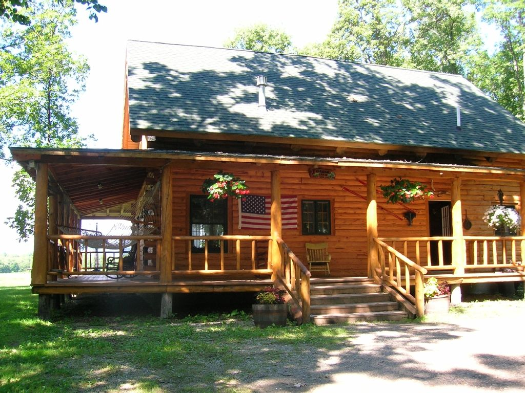 for view cabins around homeaway vermont hammock hot w theater front cabin in log home rent wrap rental authentic t porch vacation summer