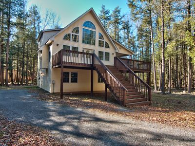 Photo for Lakefront Chalet In Pocono's, fire pit, hot tub, kayaks, canoe, game room,