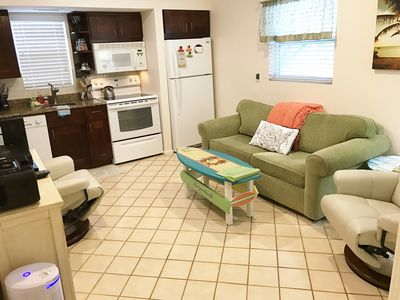 Lots of seating in our Living room! Fully stocked kitchen. New leather recliners