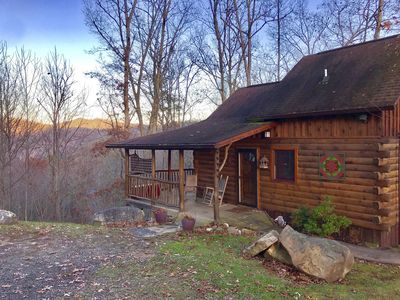 Photo for Mountaintop View 1.5 miles from downtown. Hot Tub, WiFi, Fireplace, Satellite TV