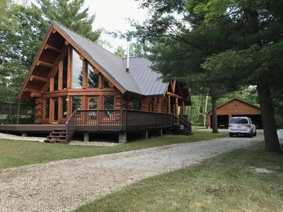 Photo for Beautiful log home with lake view and close to ORV, hiking, & snowmobile trails