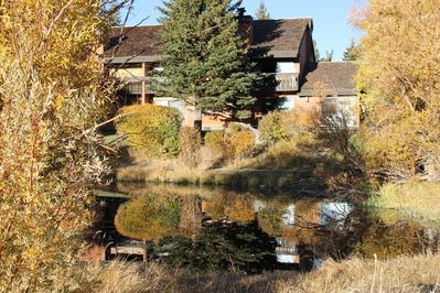 Our Townhome, from Snowcreek Meadow across Mammoth Creek
