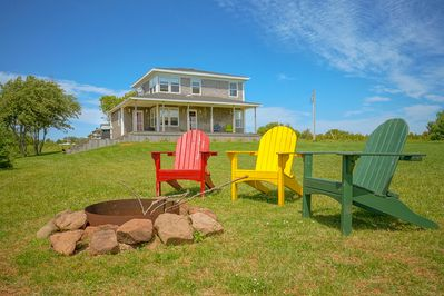Relax around the campfire, or explore or spacious property on the water's edge