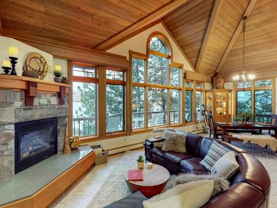 Photo for Gorgeous lakefront cabin w/ private hot tub, dry sauna, dock, & stunning views!