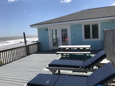 Spacious, Open Sundeck.  Picnic table and 4 lounge chairs.