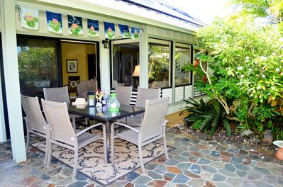 Outside Kauai dining at its best! Relax in your private backyard oasis!