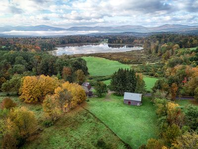 Full Moon Farm's view and land from aerial drone.