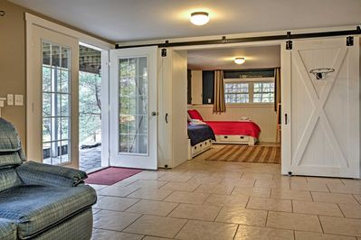 The front door opens up into a spacious home!