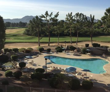 View of pool 5, Stonecreek Golf course and the Mountains from larger patio.