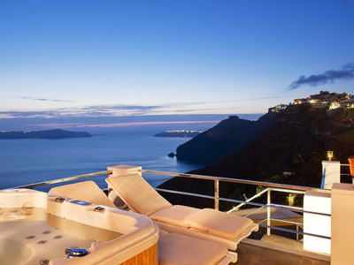 Photo for Luxury Villa Mill Huit Santorini, 3 BR 4 BA, Panoramic View, Up to 6 Guests