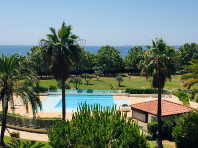 Photo for Juan-les-pins Antibes Residence Blue Pins 2P sea view pool direct beach access
