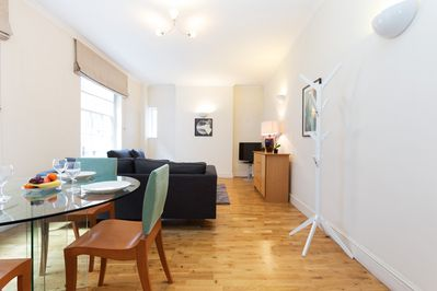 The open-plan living and dining area