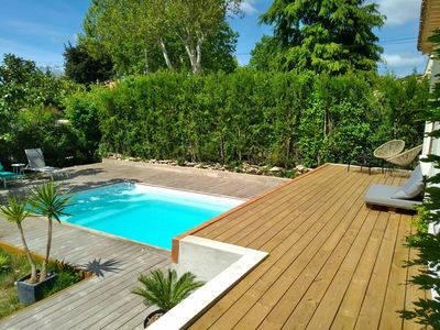Photo for Village house near Nîmes, swimming pool, treehouse, trampo, Clim, plancha