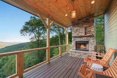 Outdoor fireplace on main deck