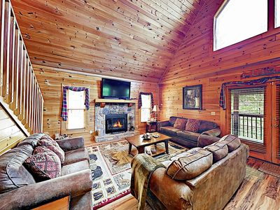 Photo for New Listing! Wooded Retreat: Hot Tub & Mountain Views, Near Lake & Dollywood