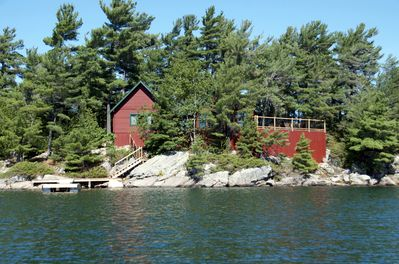 The cabin sits 20 foot above the waterline for spectacular views