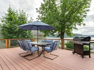 Photo for Dog-friendly getaway w/ a large deck & lake view - walk to shops & the marina