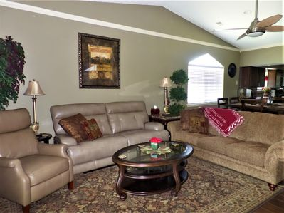 Living Room with Sofa Sleeper, recliner, and reclining sofa. All New