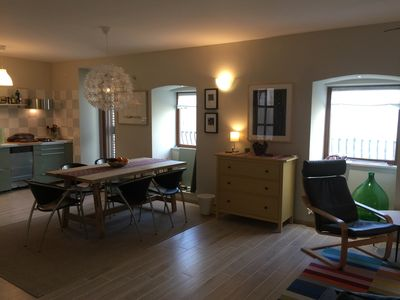Overview of living and dining room.