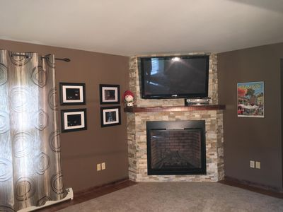 great room, fire place, smart TV, recliners