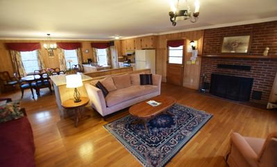 Living room ground floor - open plan with fireplace