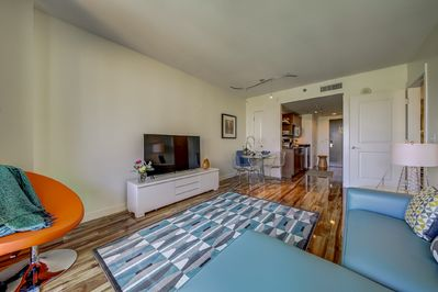 """Living Room with 55"""" Smart TV"""