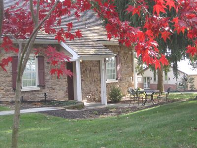 Mt Culmen Guest House in the fall with colorful foliage.