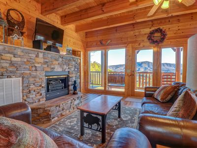 Photo for NEW LISTING! Mountaintop cabin w/ hot tub, game room, 2 decks & amazing view