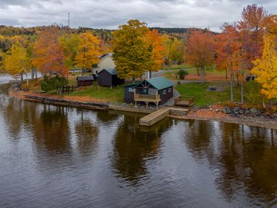 Photo for Lakefront cabin with epic views of lake & Mt Kineo & private dock - dogs OK