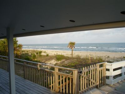 View from the deck just off the living area with boardwalk to right