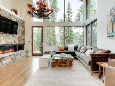 Photo for Ski-accessible upscale cabin with spectacular mountain views, outdoor living space and hot tub