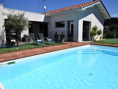 Photo for recent house modern quiet area heated pool near beach (8km)