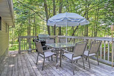 Dine outdoors on the spacious deck.