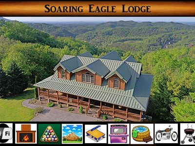 Photo for Soaring Eagle Lodge } VIEWS for miles / Wrap around porch / Hot Tub / Game Room / WiFi