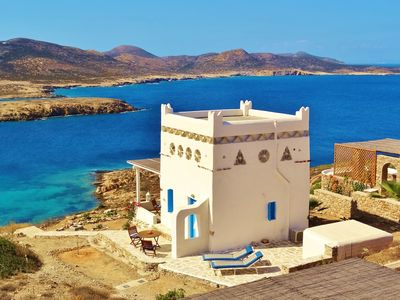 Photo for Recently built, charming, Cyclades type house with panoramic view of the Aegean