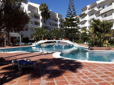 """Photo for Cosy Holiday Apartment"""" Playa Real apartment by the beach"""" with Pool, Air Conditioning, Wi-Fi, Balcony, Terrace & Sea View; Parking Available, Pets Allowed"""