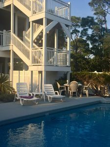 One of the largest private pools in the Plantation can be heated spring and fall