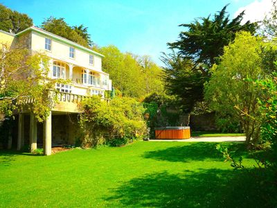 St. Lawrence Dene front aspect - balconies, 10 seater hot tub, croquet lawn