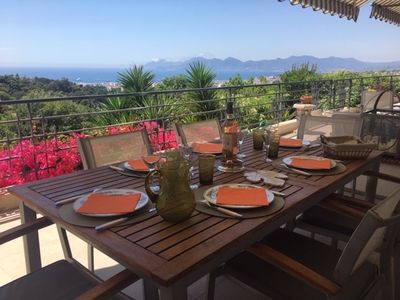 Photo for 3 bedroom apartment, large terrace and garden, panoramic sea view Cannes