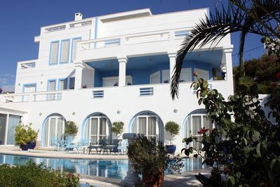 Sea Side Balconies overlook the Aegean Sea and Private Swimming Pool