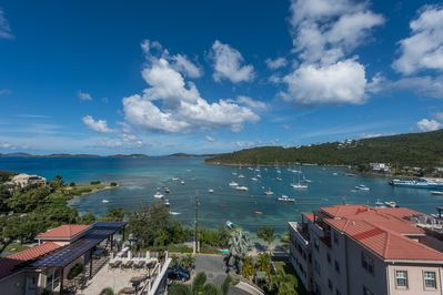 View of Cruz bay from the main balcony - nothing like it!