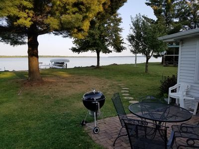 View of the lake from our patio.   We are definitely right on the lake.