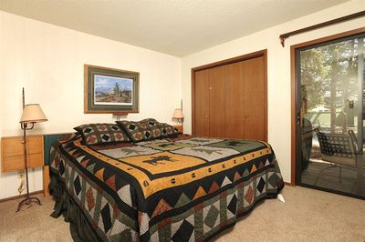 Get a good night's rest in the master bedroom. The bedding configurations vary.