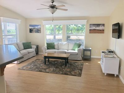 Bright, open living space.  Board games and a small collection of DVDs included.