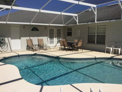 Great pool deck, house has a bathroom out to the pool deck