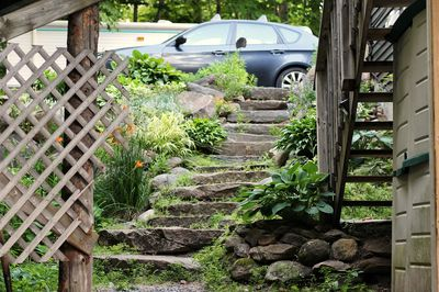 Natural rock steps to private entrance.  Parking available.  Railing to come.